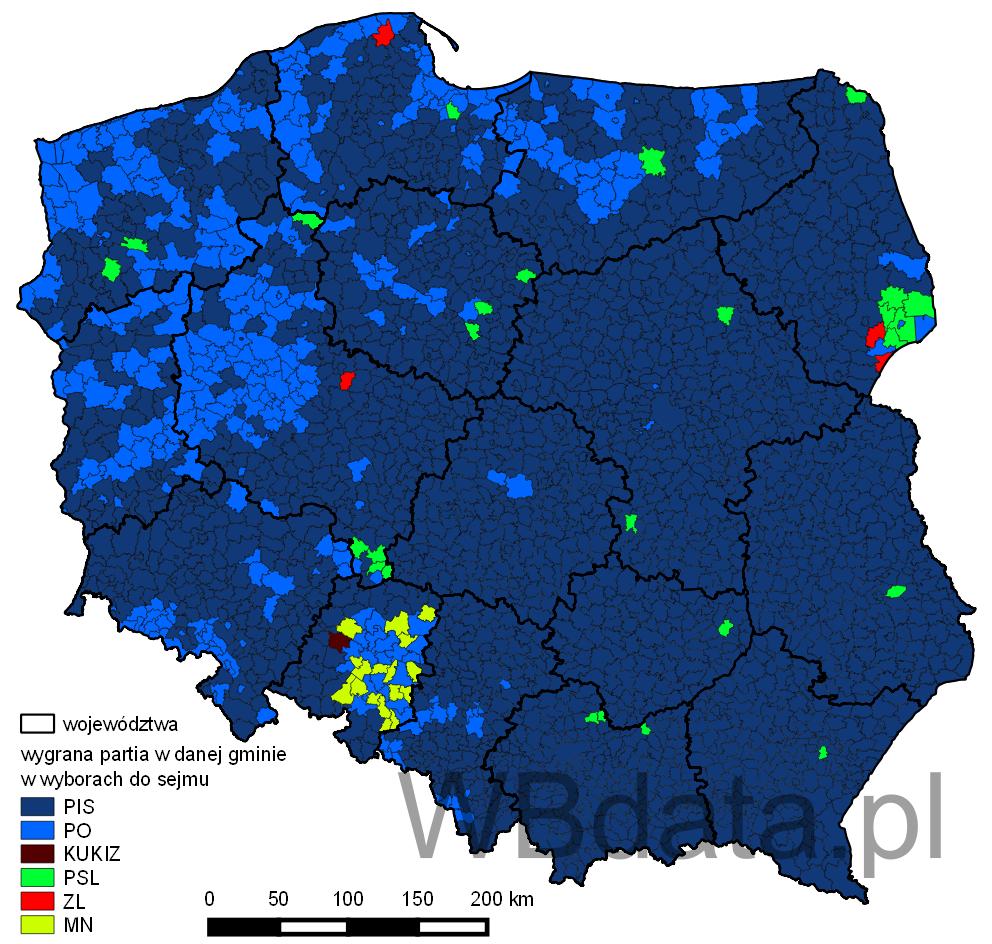 Mapa poparcia partii w wyborach do sejmu 2015 roku
