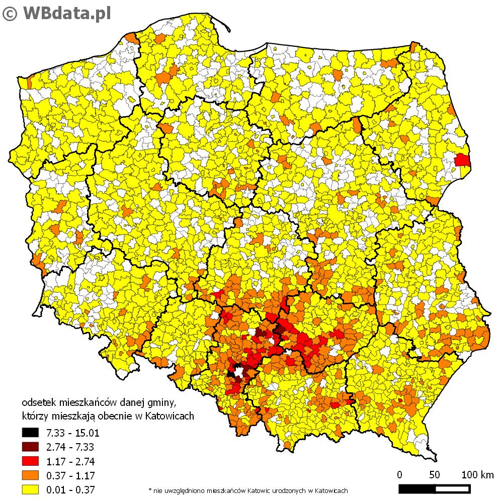 Mapa przedstawia odsetek mieszkańców danej gminy, którzy mieszkają obecnie w Katowicach.