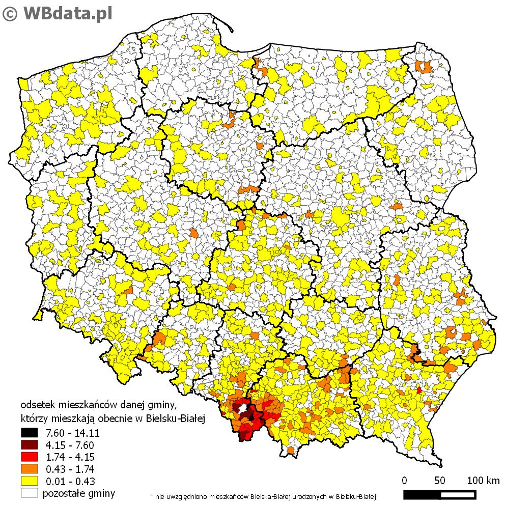 Mapa przedstawia odsetek mieszkańców danej gminy, którzy mieszkają obecnie w Bielsku-Białej.