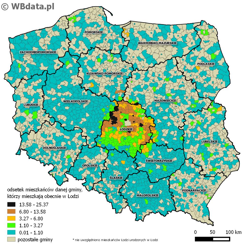Mapa przedstawia odsetek mieszkańców danej gminy, którzy mieszkają obecnie w Łodzi.