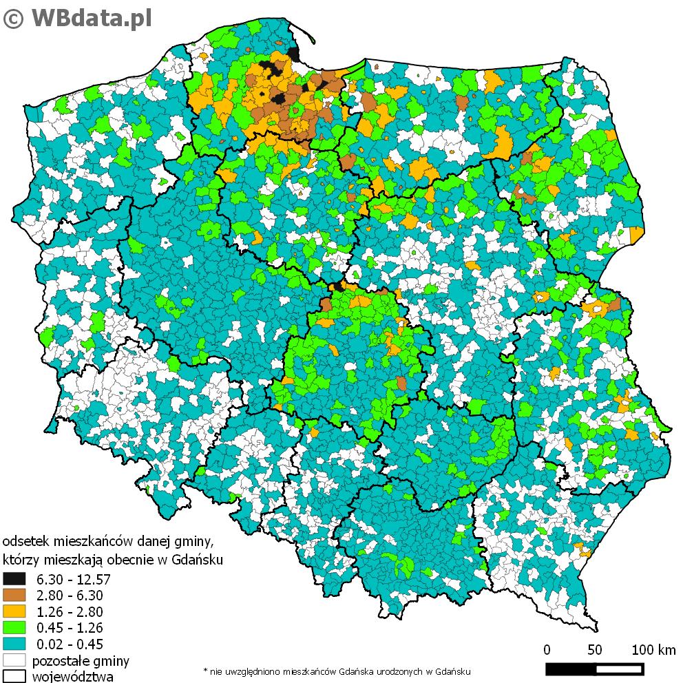 Mapa przedstawia odsetek mieszkańców danej gminy w której się urodzili, a mieszkają obecnie w Gdańsku.