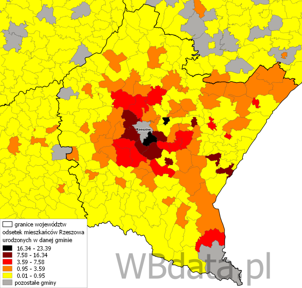 Mapa przedstawia odsetek mieszkańców Rzeszowa urodzonych w danej gminie