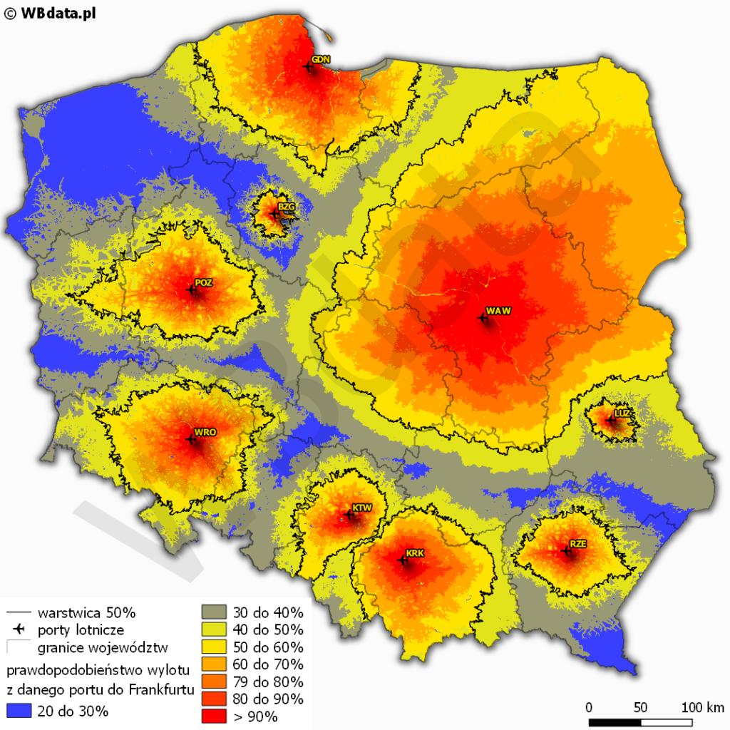 Mapa przedstawia obszary oddziaływania lotnisk z uwzględnieniem prawdopodobieństwa wyboru lotu do Frankfurtu nad Menem w zależności od wielkości oferty lotów z danego lotniska