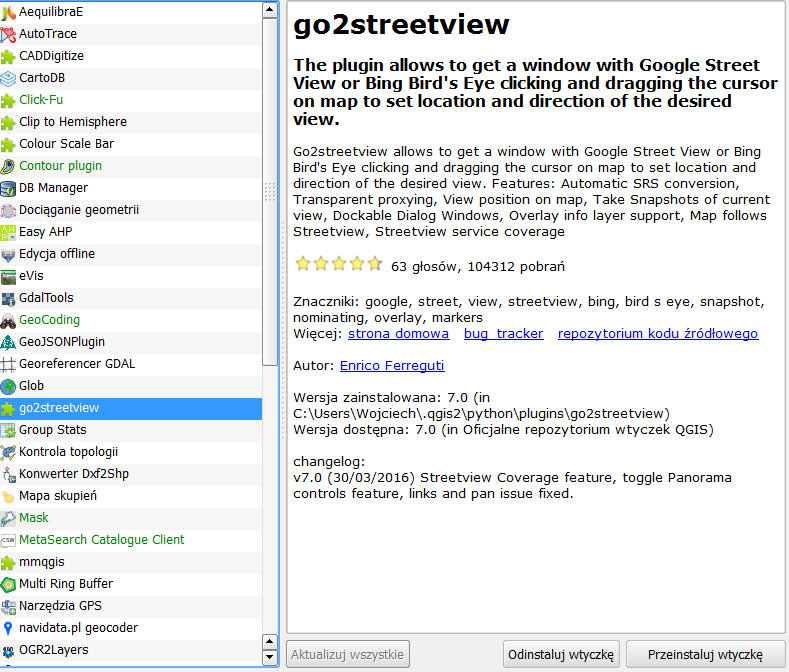 Wtyczka go2streetview do programu QGIS