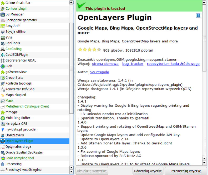 Wtyczka OpenLayers do programu QGIS