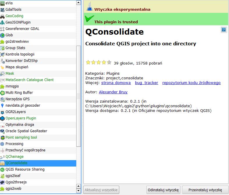 Wtyczka QConsolidate dla QGIS