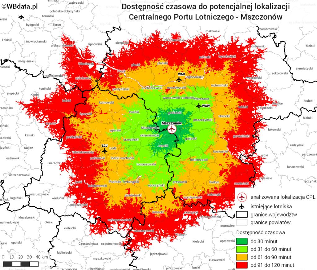 Mapa przedstawia dostępność czasową lokalizacji CPL w okolicach Mszczonowa