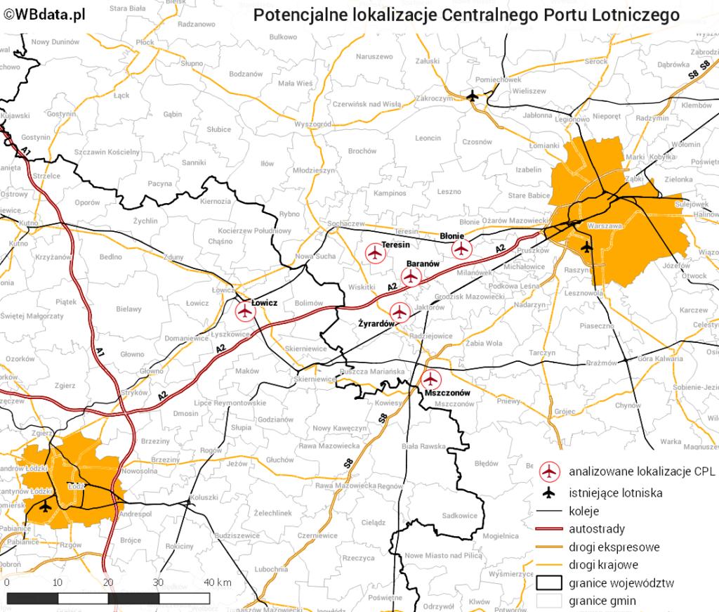Badane lokalizacje CPL na tle sieci kolejowej i drogowej