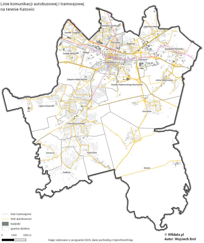 Mapa przedstawia przebieg linii autobusowych i tramwajowych na terenie miasta Katowice