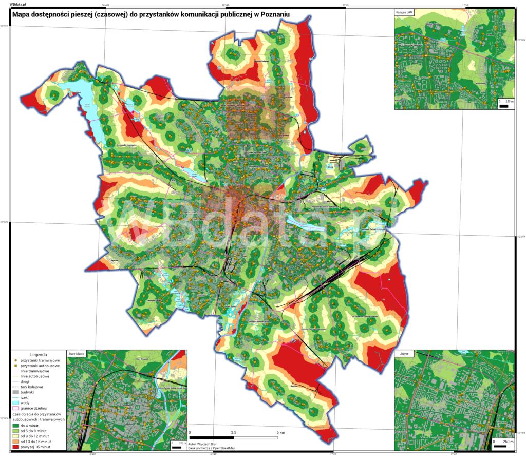 Mapa przedstawia dostępność czasową do komunikacji publicznej w Poznaniu