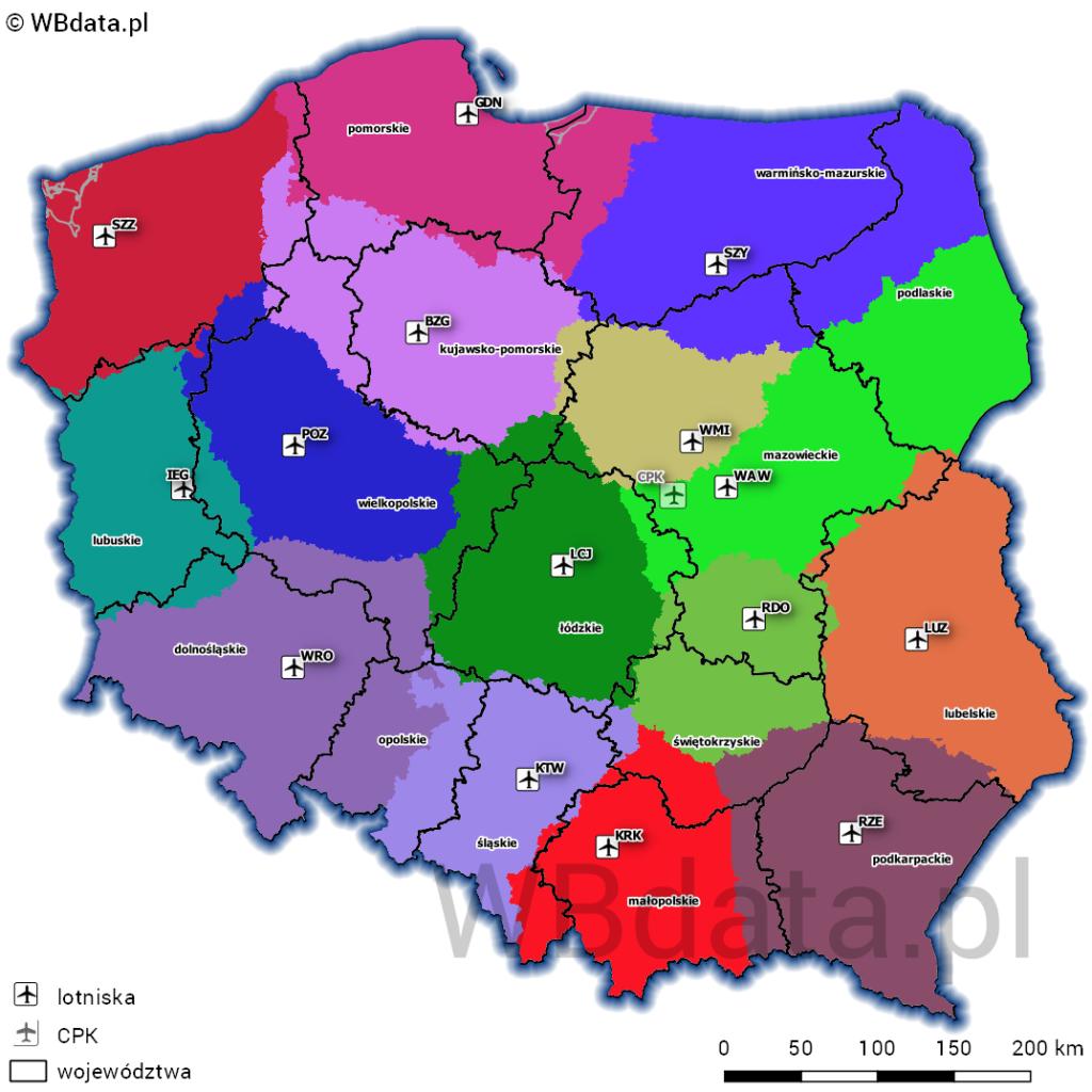 Mapa przedstawia obszary closest point, czyli obszary o najszybszej dostępności dla danego lotniska