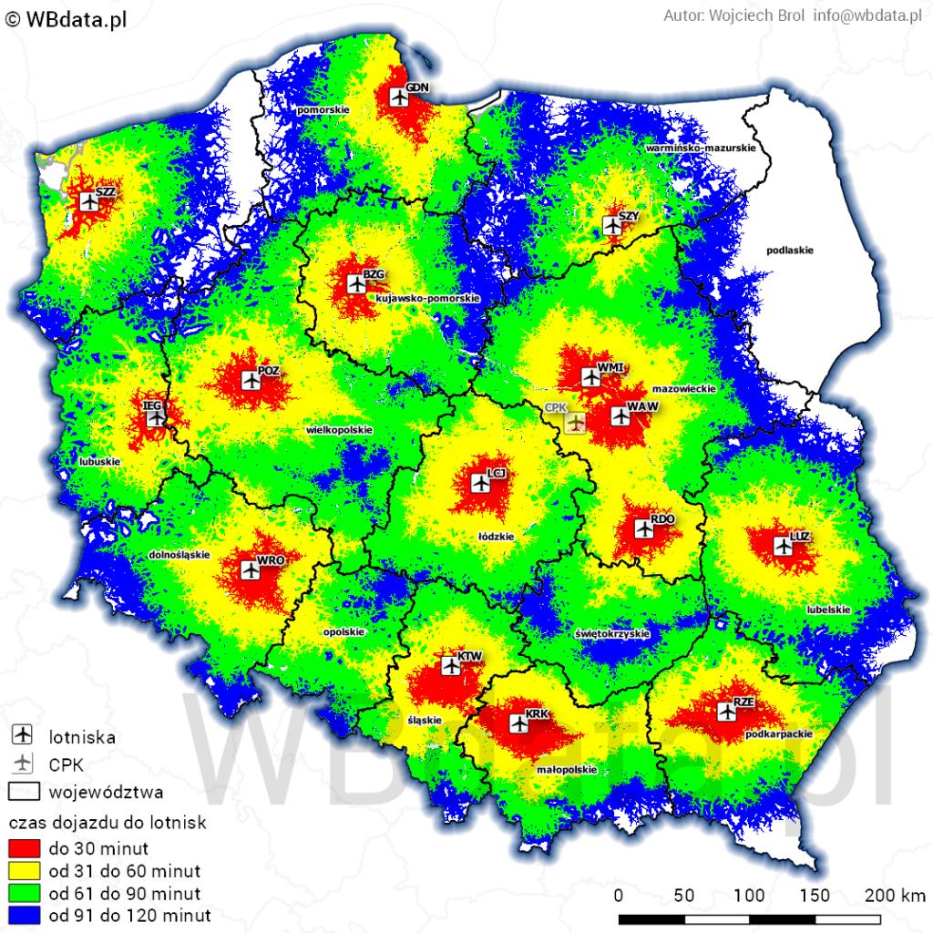 Mapa dostępności czasowej polskich lotnisk 2018