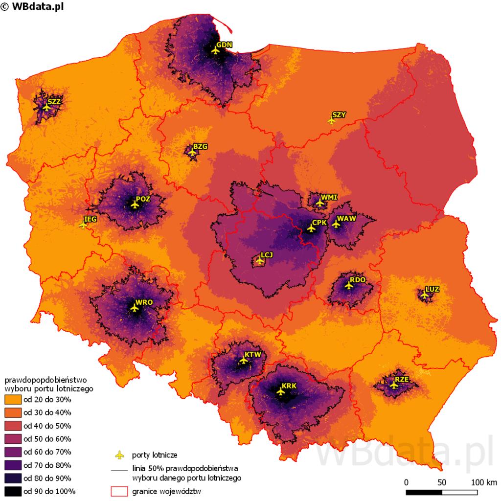 Mapa przedstawia obszary oddziaływania lotnisk w Polsce po wybudowaniu Centralnego Portu Komunikacyjnego