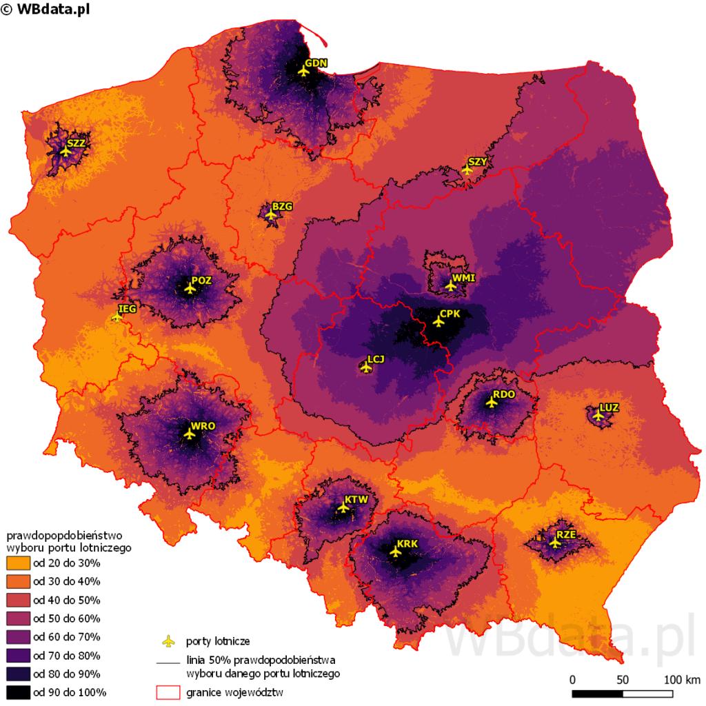 Mapa przedstawia obszary oddziaływania lotnisk w Polsce po wybudowaniu Centralnego Portu Komunikacyjnego i zamknięciu lotniska Chopina w Warszawie