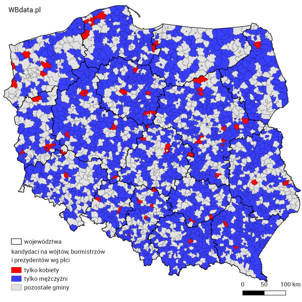 Mapa przedstawia kandydatów na wójtów, burmistrzów lub prezydentów wg płci w gminach