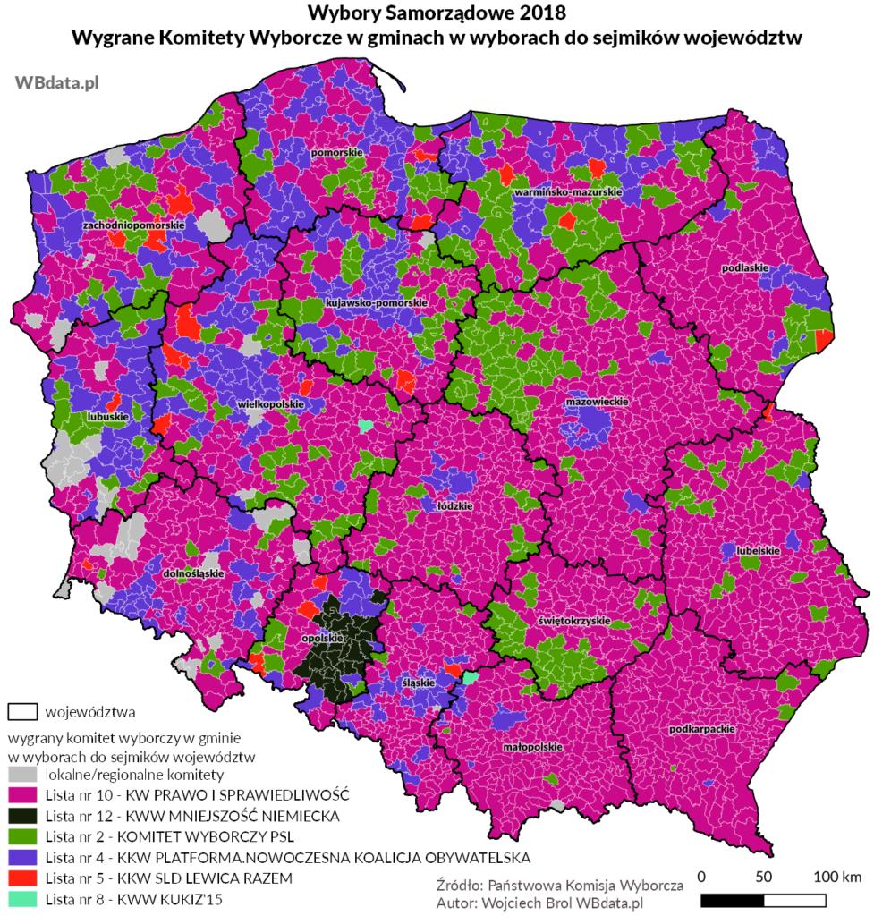 Mapa przedstawia zwycięski komitet wyborczy w gminie w wyborach do sejmików województw 2018
