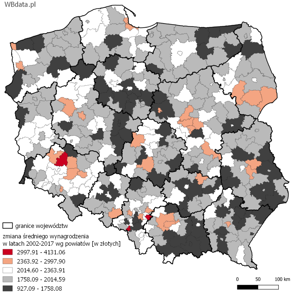 Mapa przedstawia dynamikę średniego wynagrodzenia w powiatach w latach 2002-2017 [w złotych]