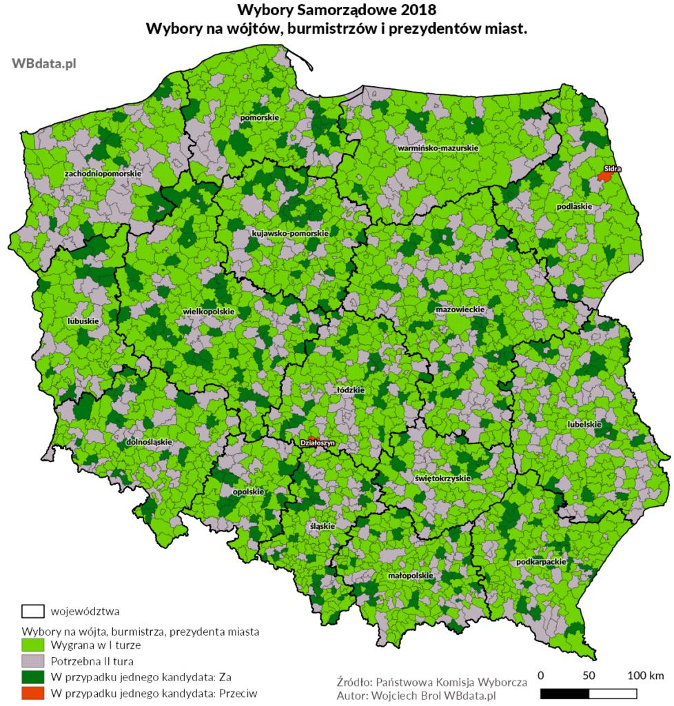 Mapa przedstawia gminy z brakiem potrzeby drugiej tury wyborów na wójtów, burmistrzów lub prezydentów miast oraz te, w których odbędzie się druta tura wyborów samorządowych 2018
