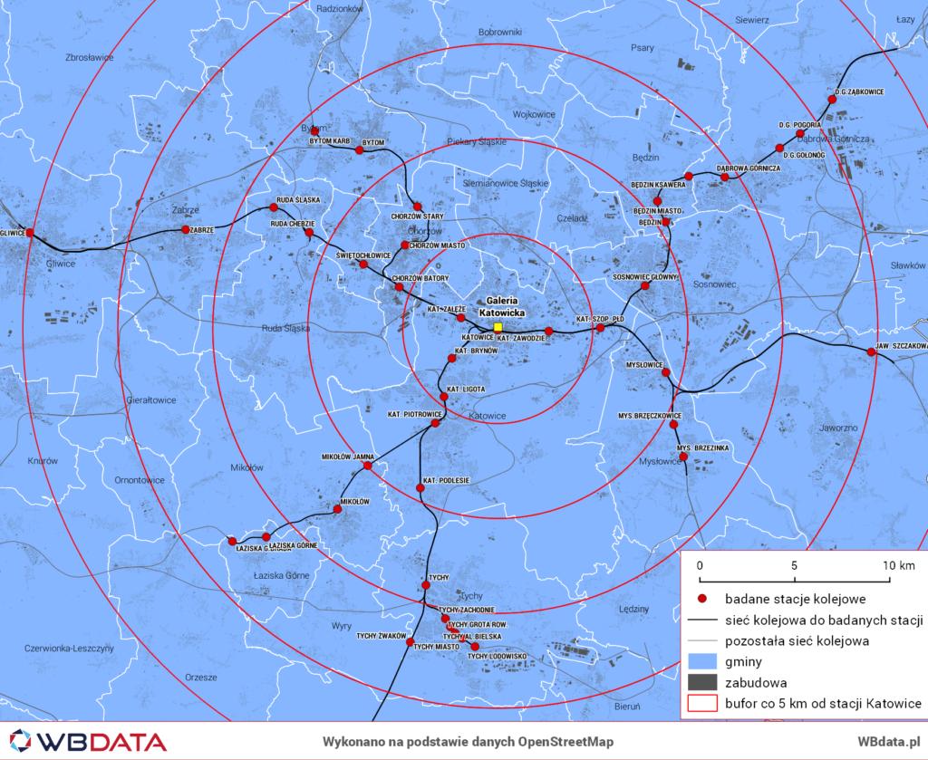 Mapa przedstawia badane linie kolejowe do stacji Katowice