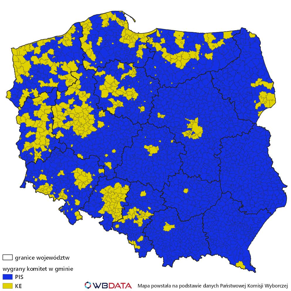Mapa zwycięskiego komitetu w wyborach do Parlamentu Europejskiego w maju 2019 roku