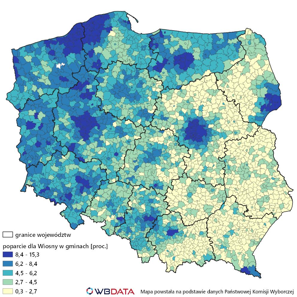 Mapa poparcie komitetu Wiosna Roberta Biedronia w wyborach do Parlamentu Europejskiego w maju 2019 roku.