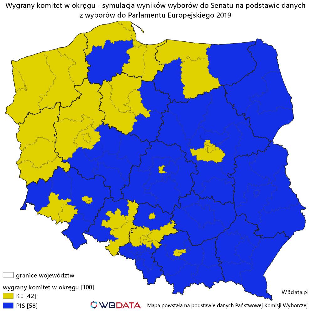 Mapa przedstawia symulację wyników wyborów do Senatu na podstawie wyników wyborów do Parlamentu Europejskiego 2019.