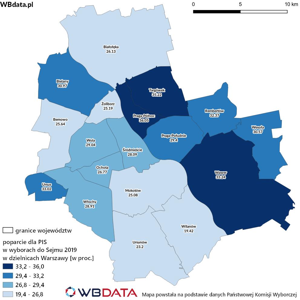 Mapa przedstawia poparcie dla Prawa i Sprawiedliwości w wyborach do Sejmu 2019 w dzielnicach Warszawy