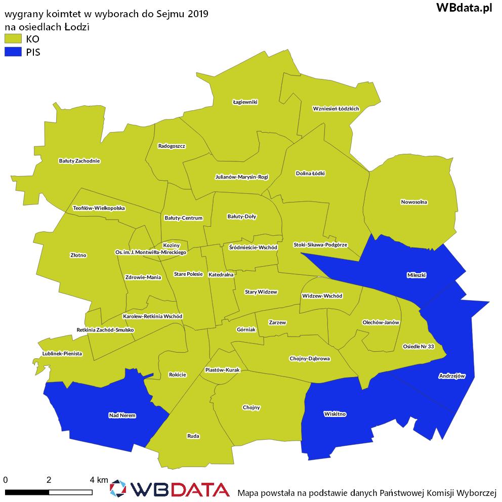 Mapa przedstawia zwycięski komitet w wyborach do Sejmu 2019 na osiedlach w Łodzi