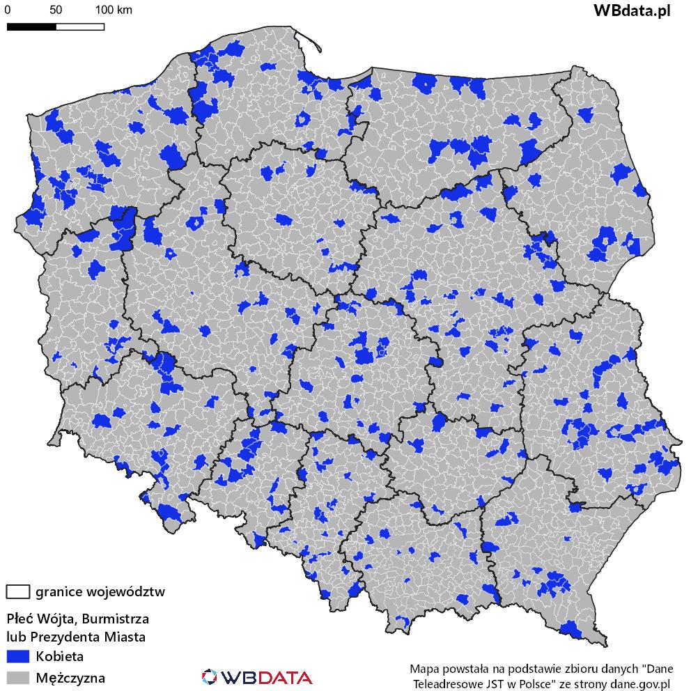 Mapa prezentująca płeć Burmistrza, Wójta lub Prezydenta Miasta.