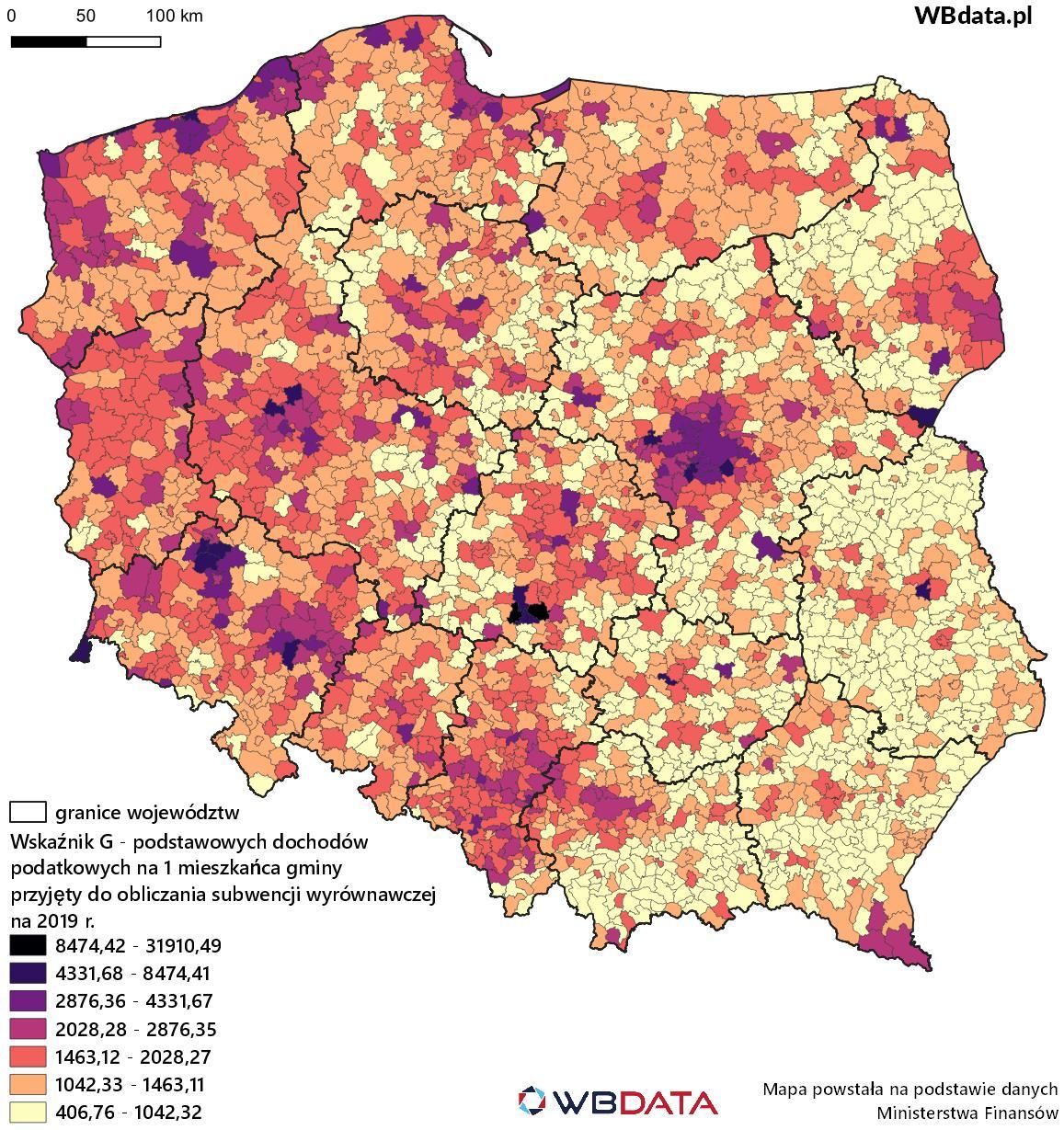 Mapa przedstawia dochody podatkowe na mieszkańca gmin