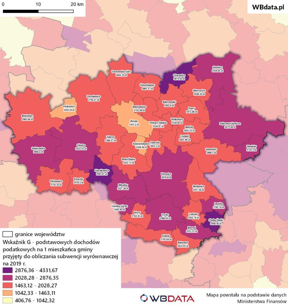 Mapa przedstawia dochody podatkowe na mieszkańca gmin w GZM