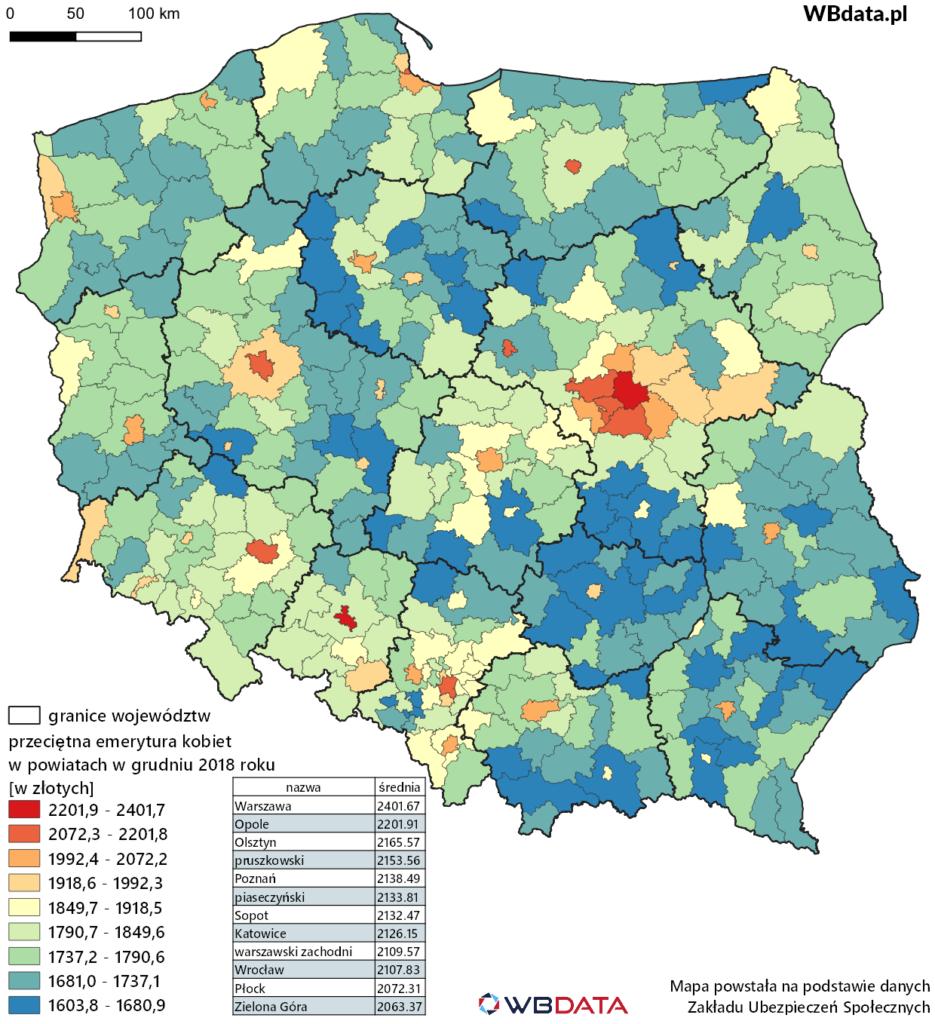 Mapa przedstawia wysokość przeciętnej miesięcznej emerytury kobiet w powiatach w grudniu 2018 roku