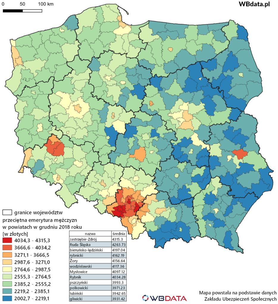 Mapa przedstawia wysokość przeciętnej miesięcznej emerytury mężczyzn w powiatach w grudniu 2018 roku