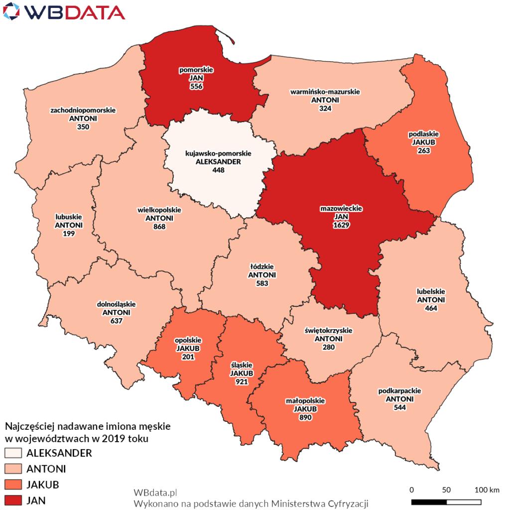 Mapa przedstawia najczęściej nadawane imiona chłopcom w województwach w 2019 roku