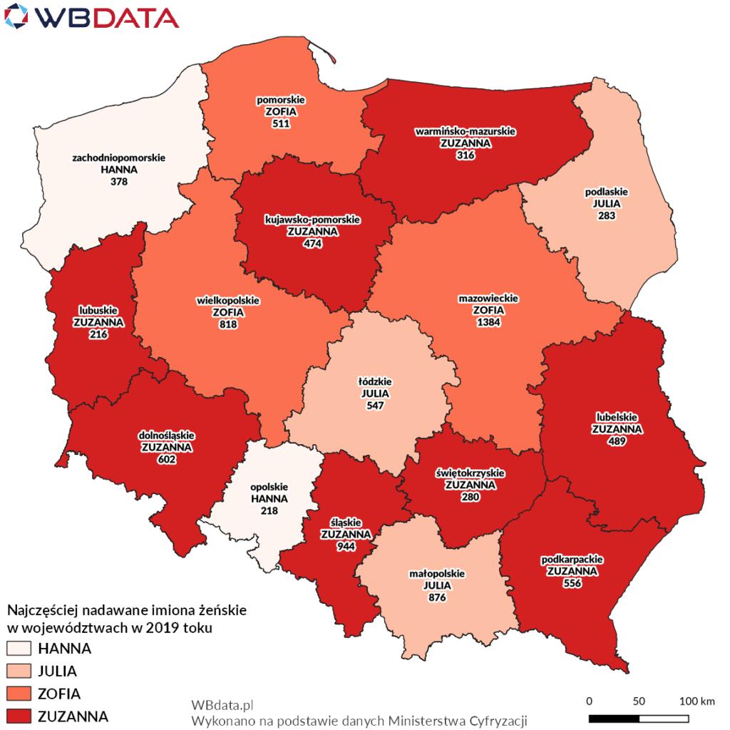 Mapa przedstawia najczęściej nadawane imiona żeńskie w województwach w 2019 roku