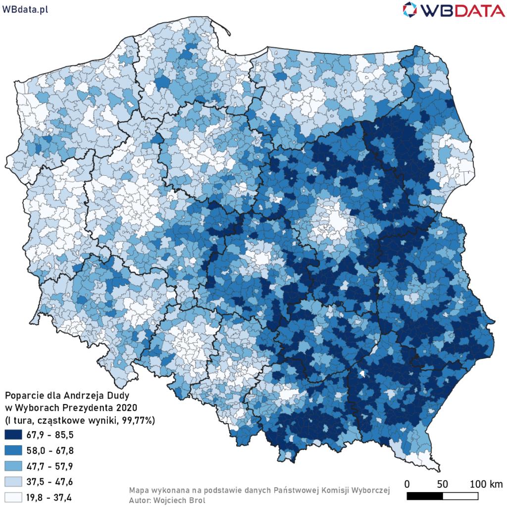 Mapa przedstawia poparcie dla Andrzeja Dudy w Wyborach Prezydenta 2020 w gminach na podstawie wyników cząstkowych (99,77%)