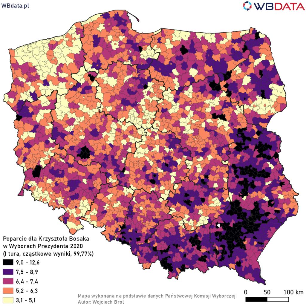 Mapa przedstawia poparcie dla Krzysztofa Bosaka w Wyborach Prezydenta 2020 w gminach na podstawie wyników cząstkowych (99,77%)