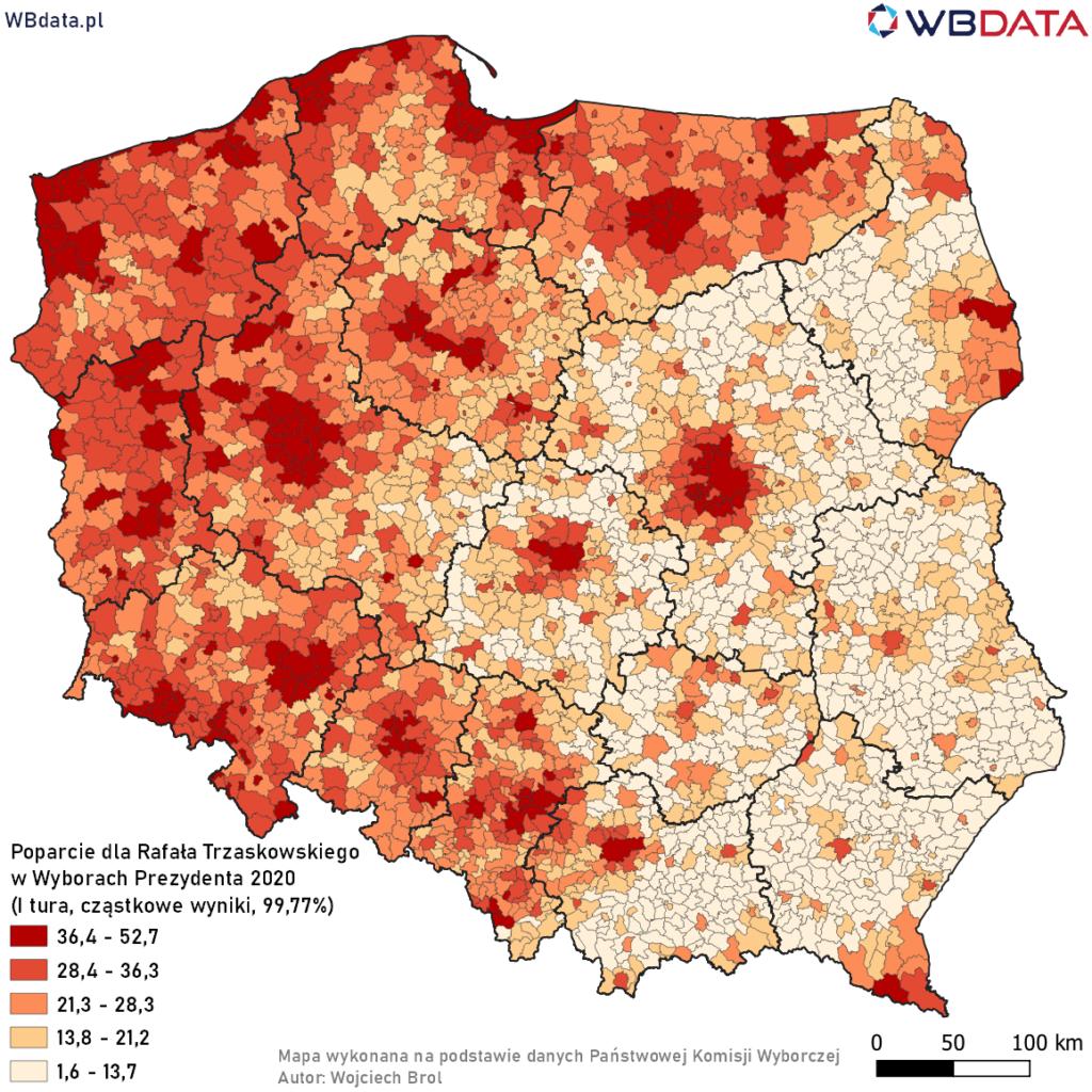 Mapa przedstawia poparcie dla Rafała Trzaskowskiego w Wyborach Prezydenta 2020 w gminach na podstawie wyników cząstkowych (99,77%)