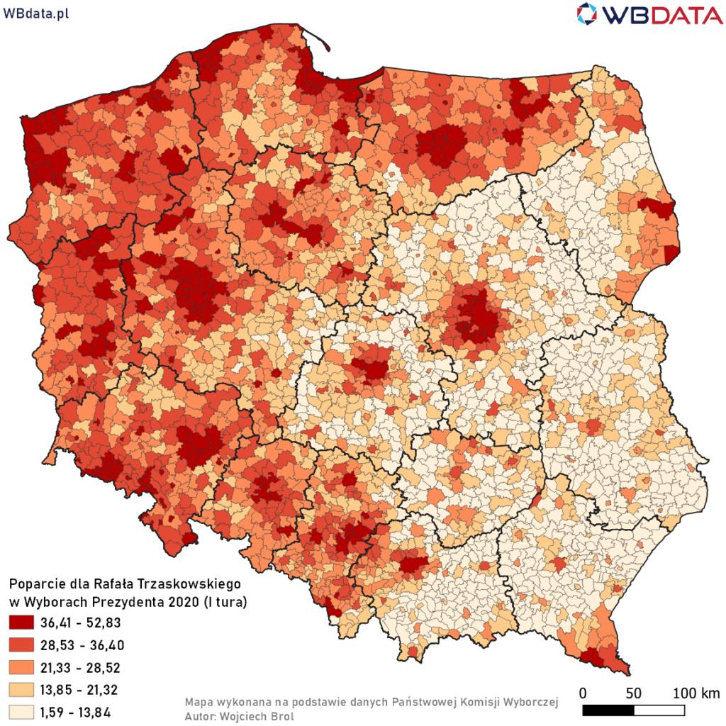 Mapa przedstawia poparcie Rafała Trzaskowskiego w Wyborach Prezydenta 2020 w gminach na podstawie oficjalnych wyników (I tura)