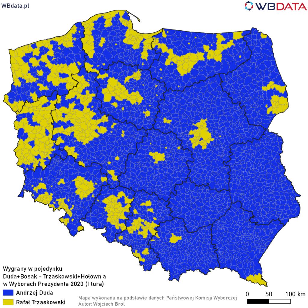 Mapa przedstawia zwycięzcę w pojedynku bezpośrednim Andrzej Duda - Rafał Trzaskowski w Wyborach Prezydenta 2020 po dodaniu głosów innych kandydatów (I tura)