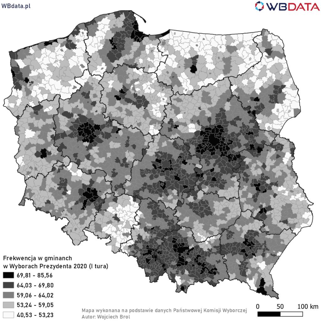 Mapa przedstawia frekwencję w gminach w Wyborach Prezydenta 2020 (I tura)