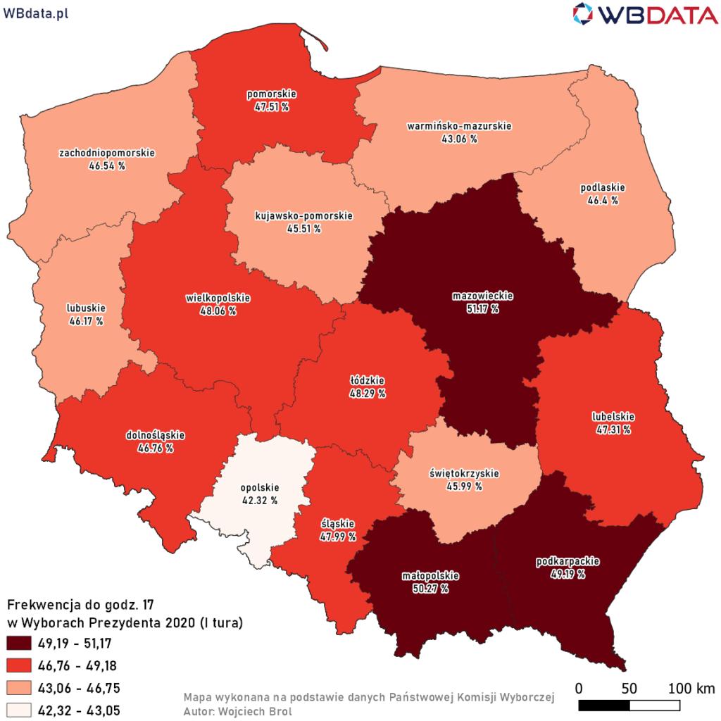 Mapa przedstawia frekwencję z godziny 17 w Wyborach Prezydenta 2020 - I tura