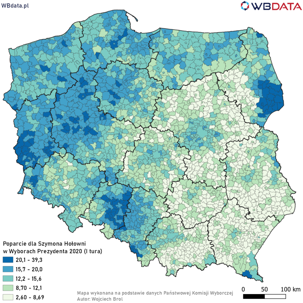 Mapa przedstawia poparcie Szymona Hołowni w Wyborach Prezydenta 2020 w gminach na podstawie oficjalnych wyników (I tura)