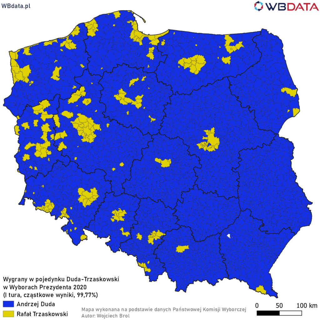 Mapa przedstawia zwycięzcę w pojedynku bezpośrednim Andrzej Duda - Rafał Trzaskowski w Wyborach Prezydenta 2020 (dane cząstkowe, 99,77%)