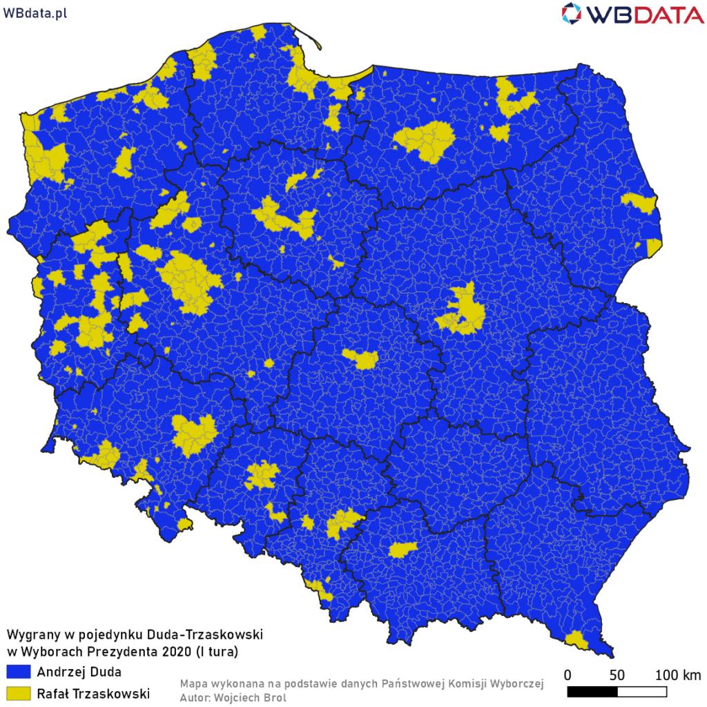 Mapa przedstawia zwycięzcę w pojedynku bezpośrednim Andrzej Duda - Rafał Trzaskowski w Wyborach Prezydenta 2020 (I tura)