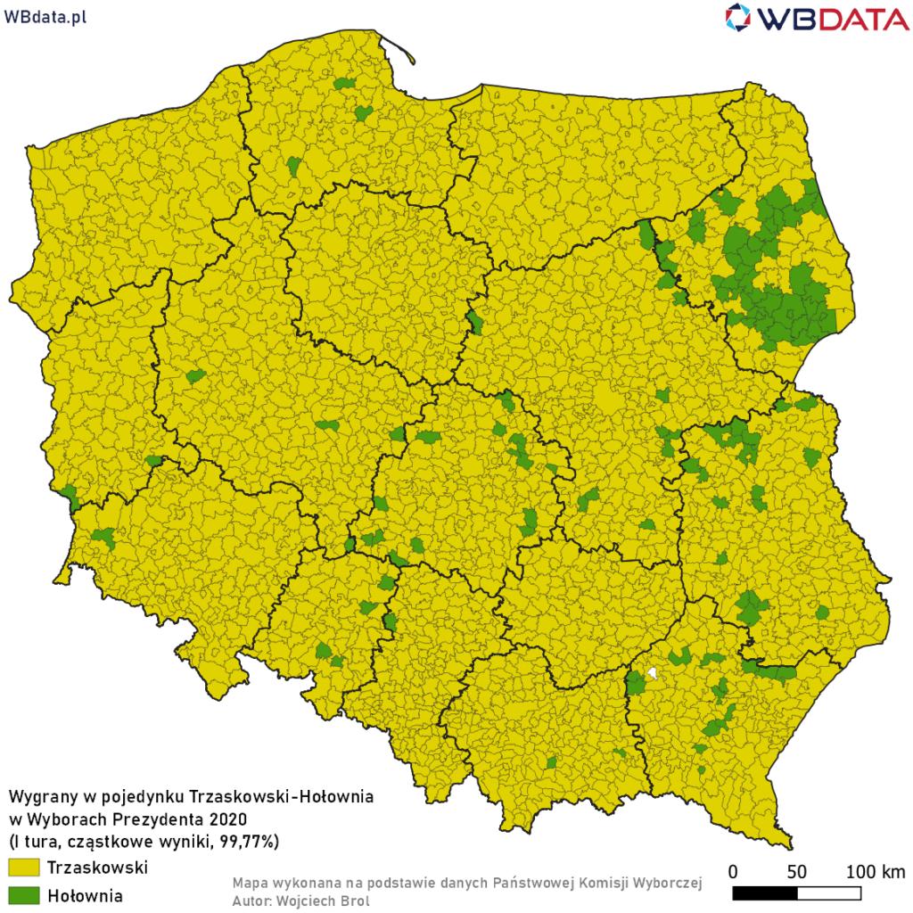 Mapa przedstawia zwycięzcę w pojedynku bezpośrednim Rafał Trzaskowski - Szymon Hołownia w Wyborach Prezydenta 2020 (dane cząstkowe, 99,77%)