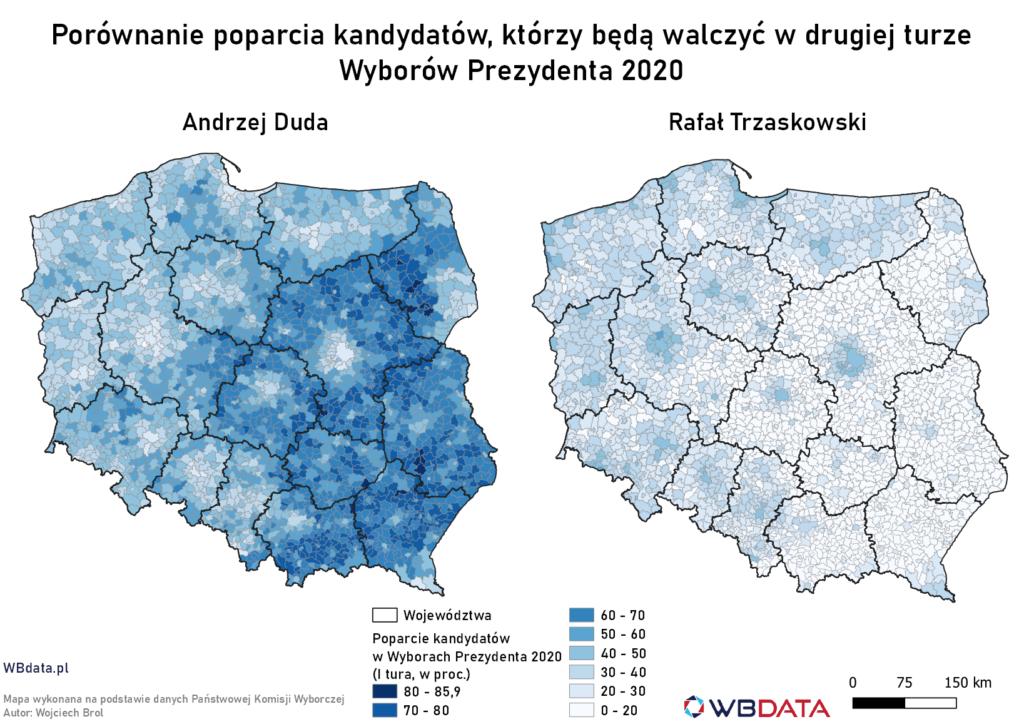 Porównanie poparcia Andrzeja Dudy i Rafała Trzaskowskiego w gminach w Wyborach Prezydenta 2020 (I tura)