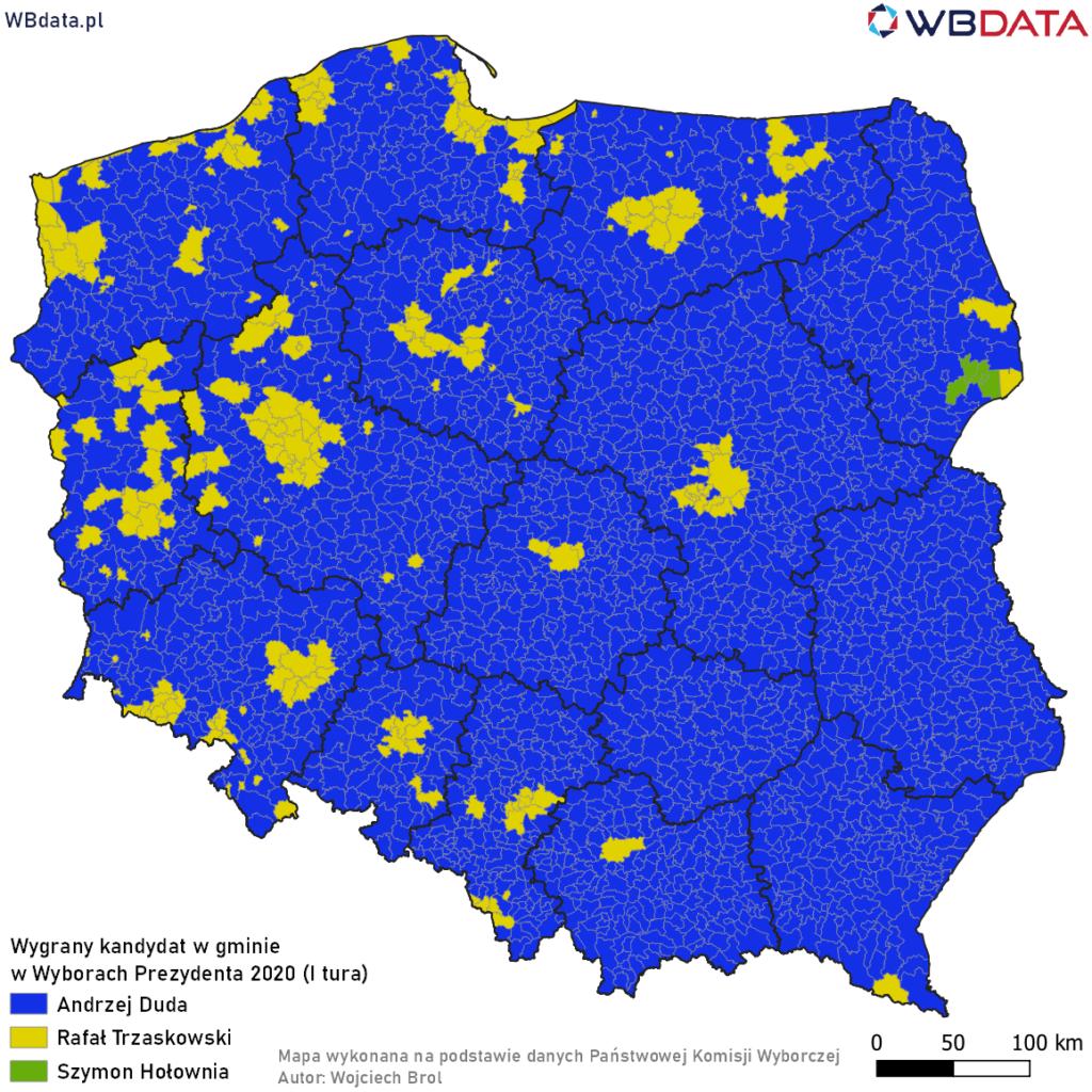 Mapa przedstawia wygranego kandydata w gminie w Wyborach Prezydenta 2020 (I tura)