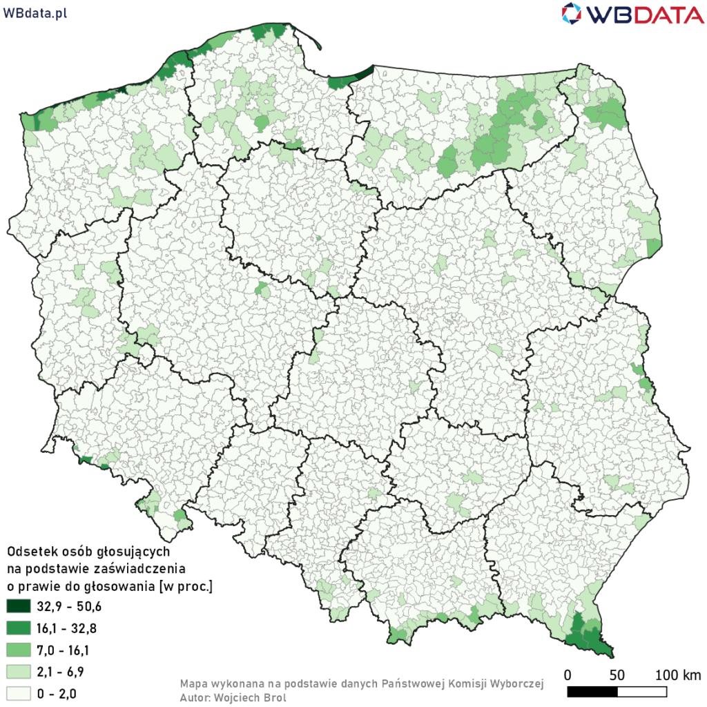 Mapa przedstawia odsetek głosujących w gminie na podstawie zaświadczenia o prawie do głosowania.