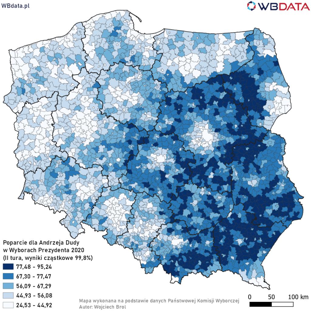 Mapa przedstawia poparcie dla Andrzeja Dudy w Wyborach Prezydenta 2020 w gminach na podstawie wyników cząstkowych (99,84%, II tura)
